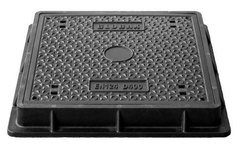 Poklop kompozitní  KD400, 600x600 hranatý,venek 770x770mm  D400, uzamykatelný, h=100mm