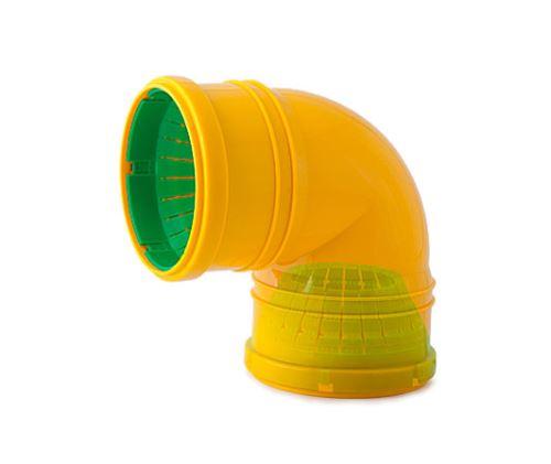 Univerzální drenážní  koleno DN 65-100- 90°  - žlutá barva