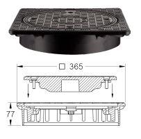 Poklop plast hranatý s kul. mřížkou uzam. na 4 šrouby A15, DN 315 (pouze na hladkou rouru)