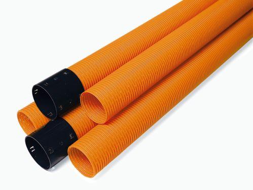 Opti drän DN 200, tyčová drenážní trubka z PVC-U, se spojkou, tyče 2,5 m,oranžová děrovaná