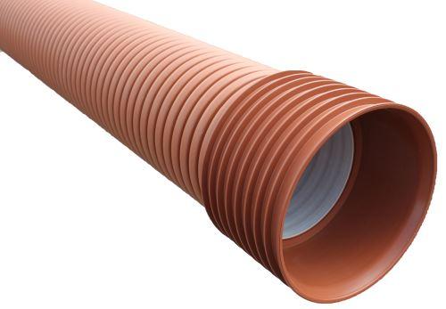 Korugovaná trouba Plasticor PP SN8 DN 300 x 6000 mm (338,7/300) vč hrdla a těsnění