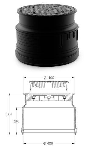 Poklop vodotěsný plastový A15, na hladkou rouru DN 400