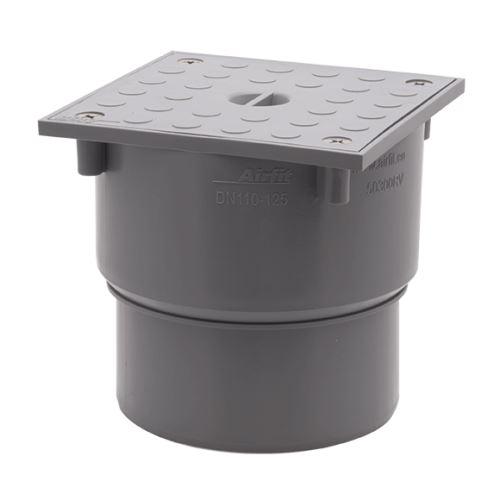 Čistící kus nástrčný s hranatým uzávěrem DN 125x110  šedý z PP