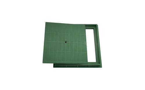 Poklop PP  DN 400 x 400 mm,pochůzný, zatížení 1,5t , zelený