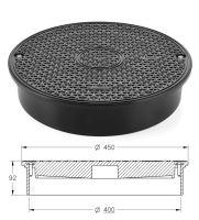 Poklop plastový A15 se zátěží do 7,5 t (75kN), DN 400 (pouze na hladkou rouru)