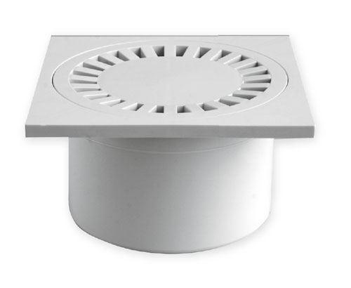 Vpusť podlahová přímá bílá 15x15 DN 50/84 plast
